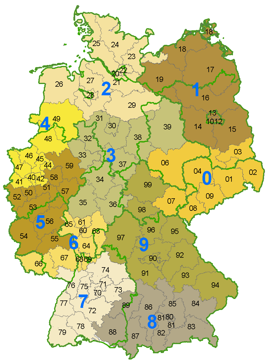 Postal Codes for German Towns (Deutschland Postlietzahlen
